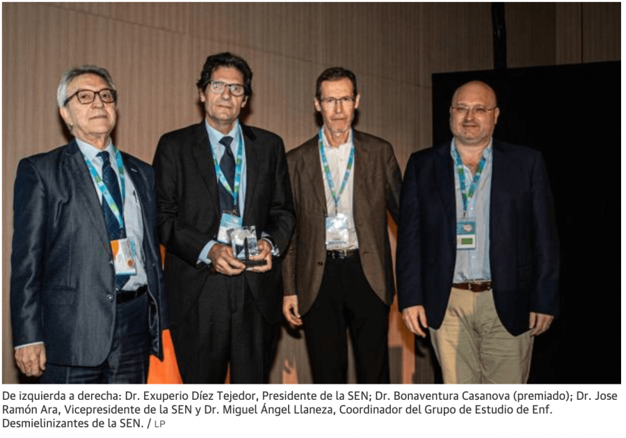 Un neurólogo valenciano, premio SEN por su labor científica sobre la esclerosis múltiple
